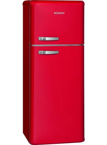 Bomann Doppeltür-Kühlschrank Retro DTR 353.1 rot / EEK: E / 208 Liter